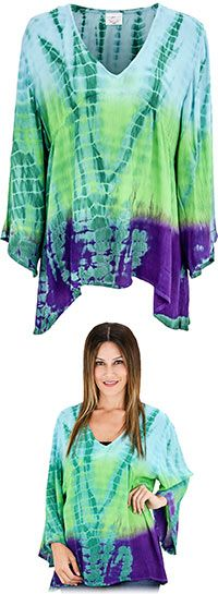 Tie Dye Block Print Long Sleeve Top at The Veterans Site