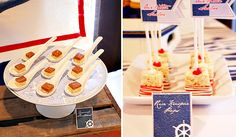 vintage nautical baby shower by Honeycomb Events + Design  (salted caramel shortbread bars and Rice Krispie pops)