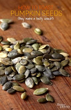 Don't throw away the pumpkin seeds when you carve your jack-o-lantern, save them for this savory treat: http://www.bhg.com/recipes/how-to/cooking-basics/how-to-cook-pumpkin-seeds/?socsrc=bhgpin102314