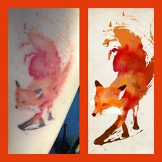 Watercolor Fox Tattoo by Skin Deep, Lake Elsinore, CA. (951) 234-6928
