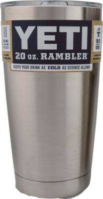 Keep drinks hot or cold with the Yeti Rambler Tumbler with Lid. Anti-corrosive 18/8 food-grade stainless steel and double-wall vacuum-insulated construction. Condensation-free design is safe to put on any surface. Fits in Yeti coolers' cup holders and most other cup holders. Clear, dishwasher-safe lid. Lid and tumbler are both BPA-free.