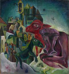 Max Ernst ~ City with Animals, c.1919