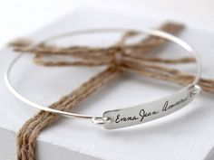 Handwriting Jewelry - Signature Plate Bangle.  I'm thinking this might be a better option than a tattoo...