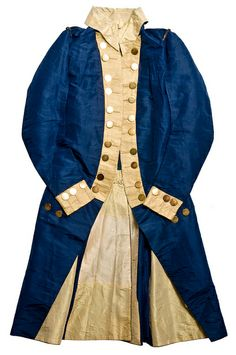 """Diplomatic uniform coat, 1790s, silk. """"This blue silk coat belonged to Charles Cotesworth Pinckney (1746-1825), South Carolina lawyer, statesman and politician. Pinckney was the son of Judge Charles Pinckney and famed Eliza Lucas. Although he fought in the Revolutionary War, it is more likely that this coat is from his service as Ambassador to France under George Washington and John Adams."""""""