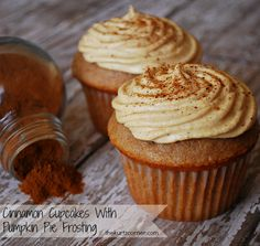 Cinnamon Cupcakes With Pumpkin Pie Frosting. A must bake for the Fall season, your friends and family will love you for it!  Thanksgiving dessert??