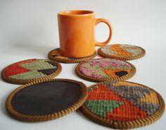 Sukan / Hand Woven - Turkish Antique Kilim Cups Coasters - 6 pcs