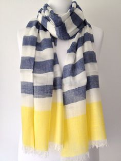 Etsy Comlistingblue Striped Scarf Large Blue Yellow And