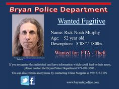 Warrant Wednesday - Rick Murphy wanted for Fail to Appear - Theft Nov 2015