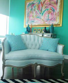 Vintage french settee  simple white cotton,  #chantelgia my home