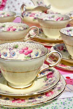 Pink floral china tea set