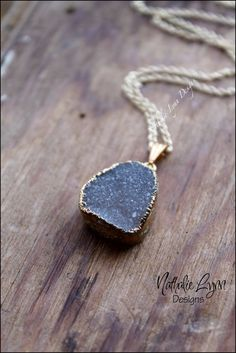 Gold Druzy Necklace Druzy Pendant Necklace by nathalielynndesigns