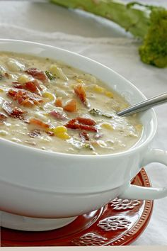 Seafood Chowder with Crumbled Bacon Recipe ~ Say: This seafood chowder is rich, creamy and delicious. Featuring bacon, vegetables and fresh herbs, this makes a filling meal and it is surprisingly easy to make too