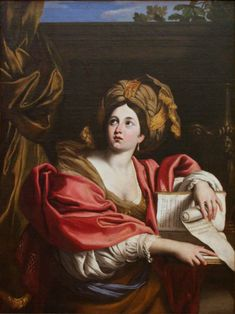 """Cumaean Sibyl (circa 1622). Domenichino (1581–1641). Oil on canvas.The Cumaean Sibyl was the priestess presiding over the Apollonian oracle at Cumae, a Greek colony located near Naples. Domenico Zampieri (or Domenichino) was an Italian Baroque painter of the Bolognese School, or Carracci School, of painters. Domenichino's workrepresents what would become known as classic-idealist art, which aims to surpass the imperfections of nature by developing an """"Idea of Beauty"""" (idea del bello)."""