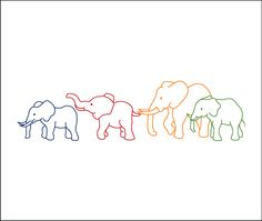 Colour it, sew it, trace it, etc. Baby Elephants - it's actually a tattoo but think it would make a gorgeous embroidery.