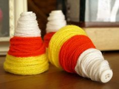 I love candy corn decorations! What a cute idea to use yarn