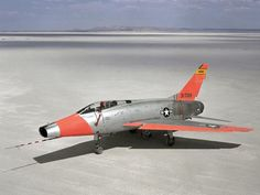 North American JF-100C Super Sabre airplane on lakebed at Edwards Air Force Base, Edwards, California in 1962.