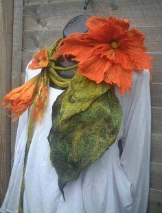 felted scarf necklace flower, felted flower necklace, felted wool, art to wear scarf, lariat, made to order,lagenlook,  custom order, orange. £65.00, via Etsy.
