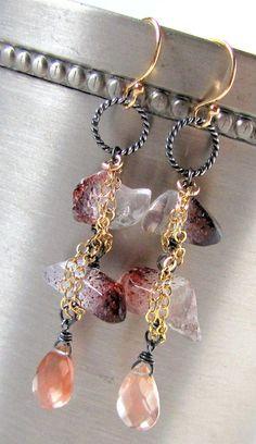 Boho Chic earrings Lepidocrocite Strawberry