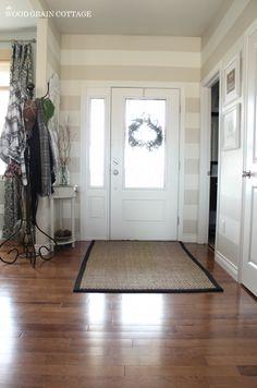 Migonis Home: House Tour: The Woodgrain Cottage-love the entryway stripes