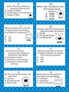 question card, the american revolution, 5th grade, social studi