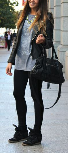 Black wedge sneakers are the comfiest shoe for shopping around town! Wear with your leggings, graphic tee & moto jacket for the perfect errand-running outfit. street fashion, wedge shoes, statement necklaces, outfit, sneaker wedges, leather jackets, wedge sneakers, wedg sneaker, black pants