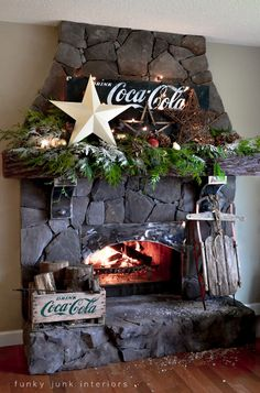 Old World Christmas Decorating Ideas | Coca Cola inspired Christmas mantel on cultured stone fireplace, via ...