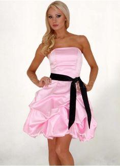Sweet Pink Satin Strapless Sash Cocktail Dress  #dress