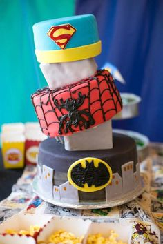 AWESOME SUPERHERO CAKE from this Superhero themed birthday party with SO MANY AWESOME IDEAS via Kara's Party Ideas | Cake, decor, cupcakes, games and more! KarasPartyIdeas.c...