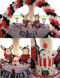 Olivia the pig inspired Cake Table