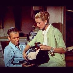 "Grace Kelly and Jimmy Stewart in ""Rear Window""."