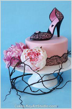 High Heel Shoe Cake Topper and Sugar Diamond Brooch class