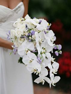 Cascading bridal bouquet of white orchids and roses with touches of light purple/lavender in other flowers.
