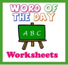 FREEBIE!  Vocabulary Worksheet:  Word Of The Day/Week