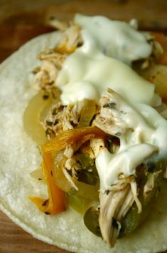 Slow Cooker Philly Cheese Chicken Tacos