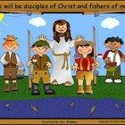 This free Fishers of Men clip art includes an image of four children fishing with Jesus. The image is by the water with fish jumping out of the lak...