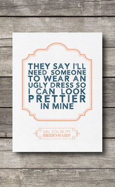 Because a bridesmaid is a true friend. #etsy #weddings