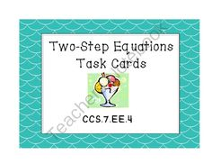 Two-Step Equation Task Cards CCS 7. EE. 4 from Teacher Twins on TeachersNotebook.com -  (11 pages)  - This product contains 12 two-step equations. The equations use negative numbers, but do not contain fractions or decimals.