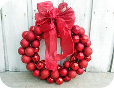 Christmas Ornament Wreath- only $6! Uses a wire hanger! Easy-to-follow tutorial and step-by-step on how to make the bow.