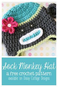 Sock Monkey Hat Crochet Pattern from Daisy Cottage Designs.