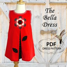 Girls dress sewing pattern PDF, Kids Childrens sewing pattern, Toddler Baby, Easy beginner, The Bella Dress. $7.50, via Etsy.