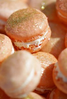 macarons peach gold shimmery