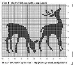 Free Filet Crochet Charts and Patterns: Filet Crochet Deer - Chart 4