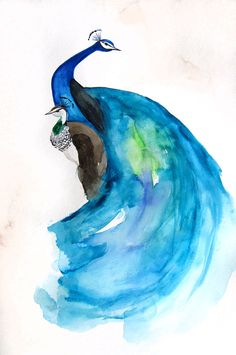 Wow, this would make an awesome water color tattoo Peacock + Peahen - Newest from Mai Autumn - Art Prints and Original Watercolor Painting available,  Go To www.likegossip.com to get more Gossip News!