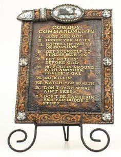 Western Decor Western Moments Cowboy Ten Commandments