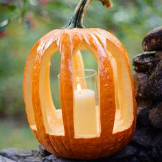 Decorate your outdoors with our amazing Pumpkin Lantern pattern:http://www.bhg.com/party/fall-harvest-party/?socsrc=bhgpin091514pumpkinlantern&page=4