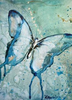 Blue Butterfly watercolor painting fine art by christydekoning, $20.00. Love the textured background on this.