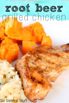 Marinated Root Beer Grilled Chicken from SixSistersStuff.com.  The root beer gives it a nice sweet flavor and helps make your chicken so moist! #recipes #grilling #chicken