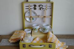Vintage Yellow Roses Brexton Picnic Set by alltheseprettythings, £25.00