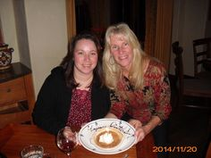 Angela and Sue on Sue's birthday. They went to Tria's.