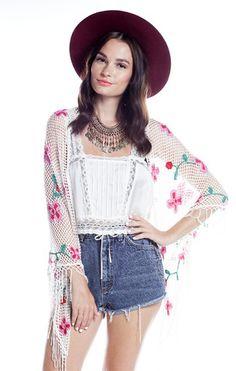 Floral Fringe Crochet Shawl - White - Saltwater Gypsy #saltwatergypsy